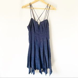Urban outfitters navy blue stripes shoulder dress